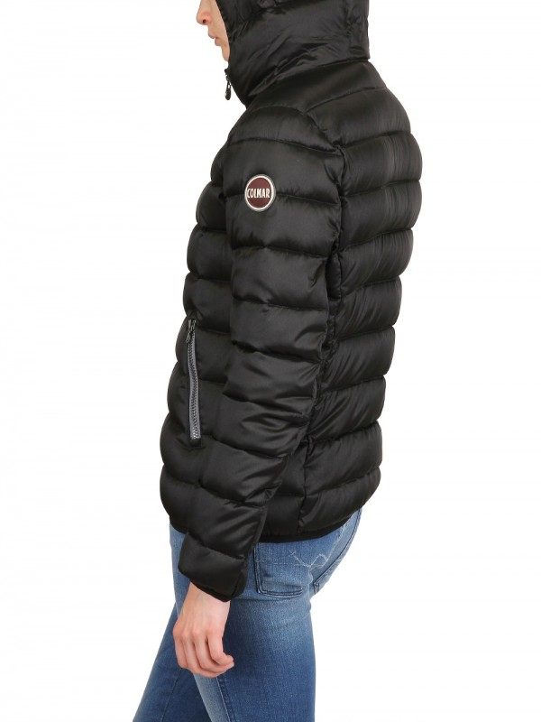 Colmar Hooded Satin Nylon Down Jacket In Black
