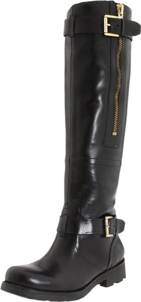 guess rider knee high boot in black black leather lyst