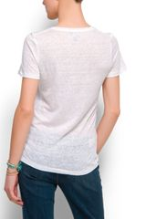 Mango Short Sleeves Linen Tshirt in White (01) - Lyst