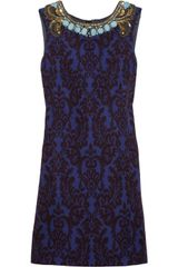 Matthew Williamson Embellished Jacquard Dress in Blue - Lyst