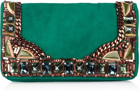 Matthew Williamson Embellished Suede Clutch in Gold (emerald) - Lyst