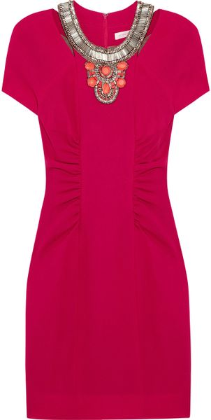 Matthew Williamson Beaded Wool Crepe Dress in Red (raspberry) - Lyst