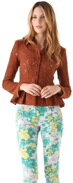 Nanette Lepore Summer Flame Lace Jacket in Brown (caramel)