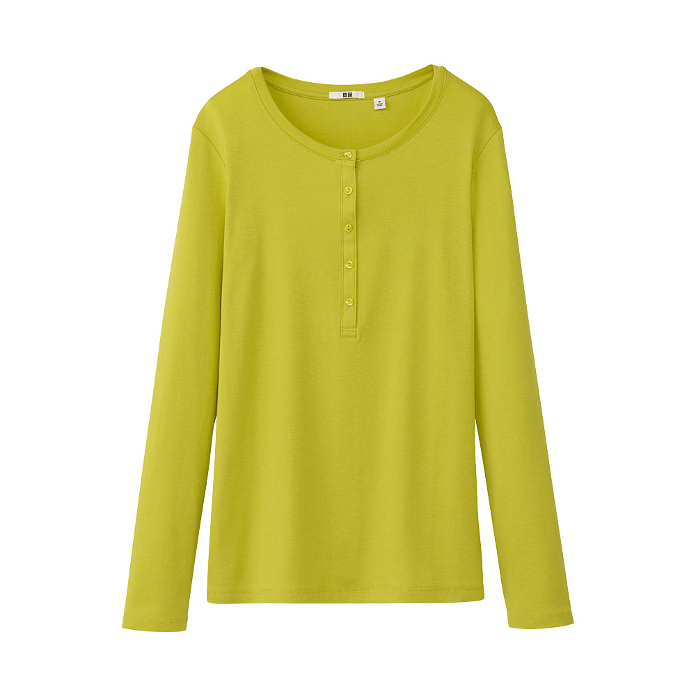 uniqlo women premium cotton henley neck long sleeve t
