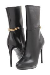Burberry Chain Detail Platform Leather Boots - Lyst