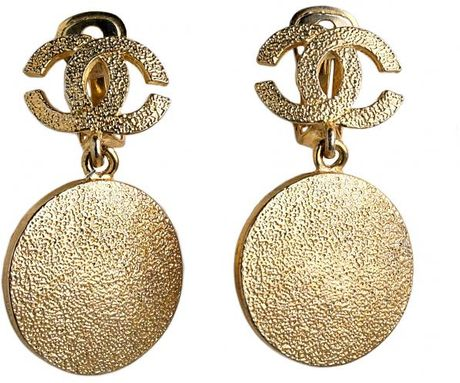 Chanel Vintage Chanel Disk Earrings in Gold - Lyst