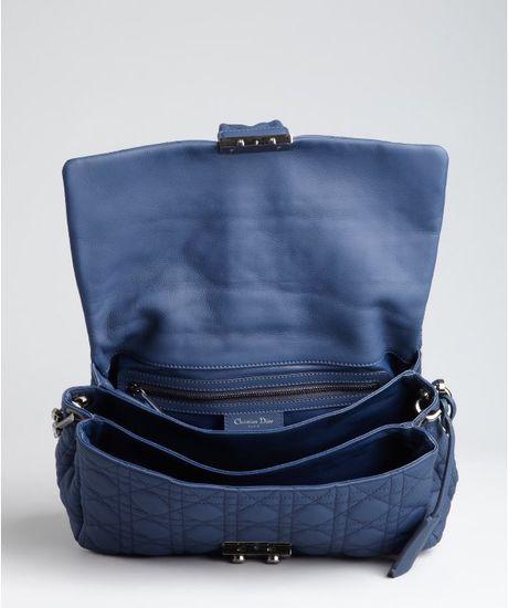 Dior Sapphire Matte Cannage Leather New Lock Shoulder Bag