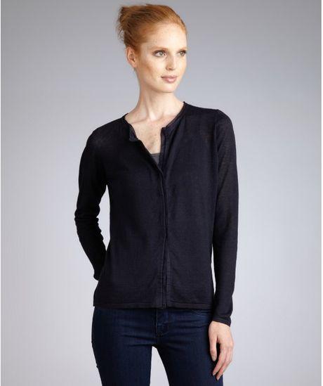 Elie Tahari Navy Linen Mackenzie Cardigan Sweater In Blue