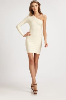 Hervé Léger Asymmetrical Bandage Dress - Lyst