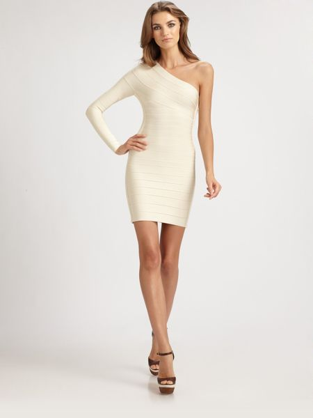 Hervé Léger Asymmetrical Bandage Dress in Gold - Lyst