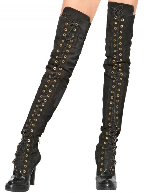 2669badf923 Lyst - McQ 120mm Suede Lace Up Over The Knee Boots in Black