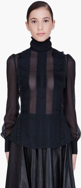 Mcq By Alexander Mcqueen Black Sheer Victorian Blouse in Black