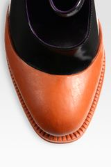 Prada Bicolor Leather Mary Jane Platform Pumps in Orange (black) - Lyst