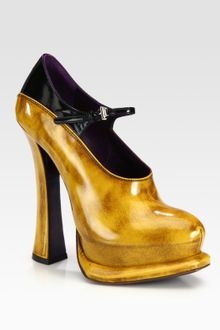 Prada Bicolor Leather and Patent Leather Mary Jane Pumps - Lyst