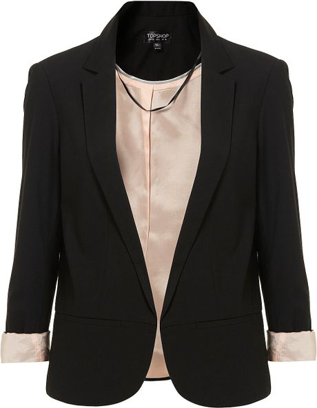 Topshop Structured Blazer in Black - Lyst