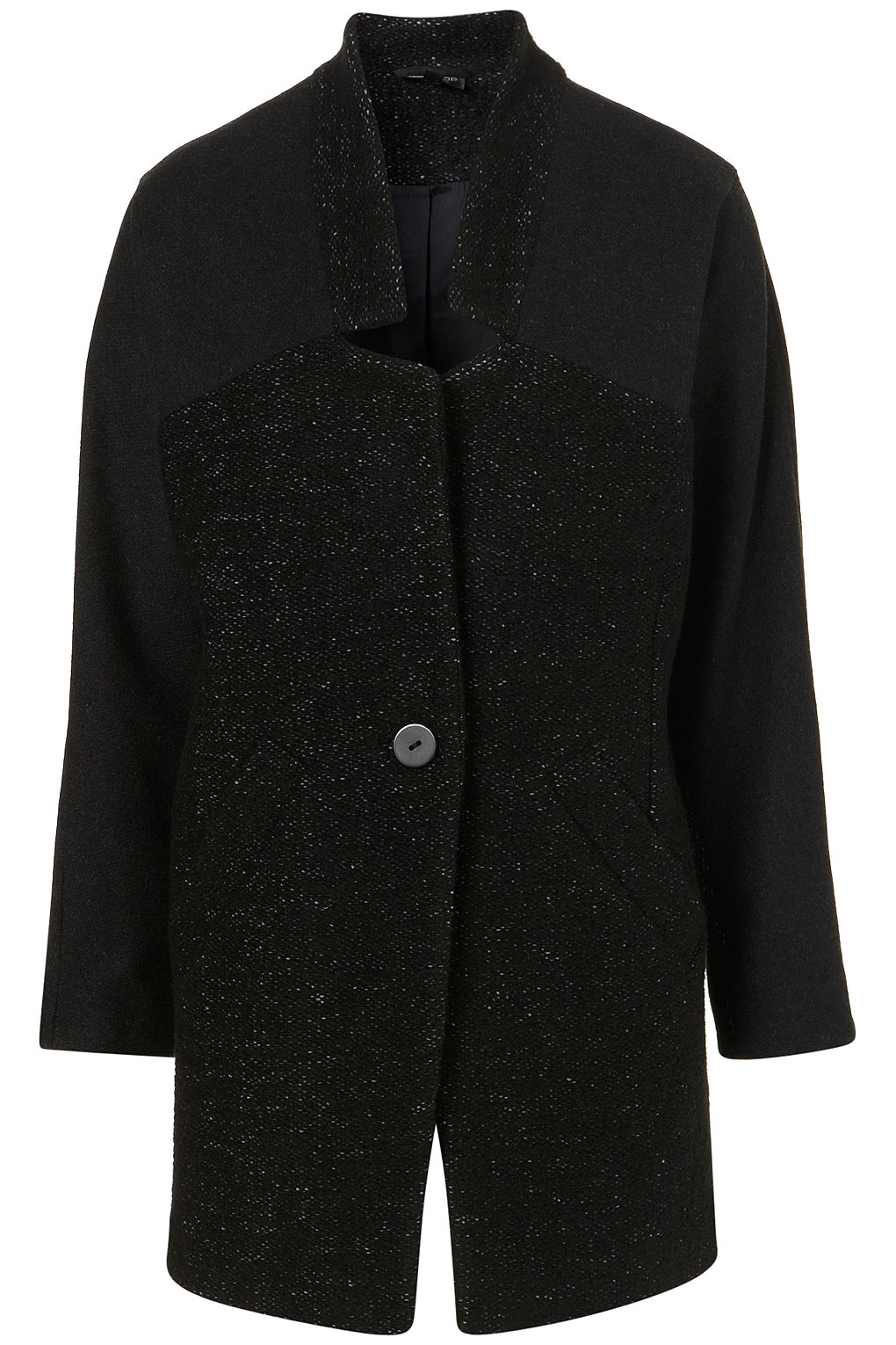 Topshop Contrast Raglin Tweed Boyfriend Coat in Black | Lyst