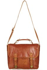 Topshop Retro Faux Snake Trim Satchel in Brown (tan) - Lyst