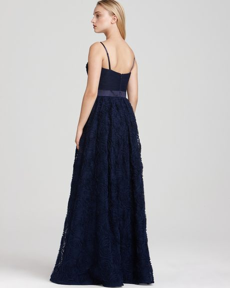 Adrianna Papell Strapless Gown Ruffle In Blue Navy Lyst