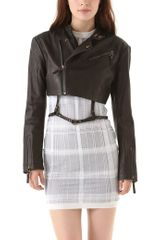 Alexander Wang Cropped Leather Moto Jacket - Lyst