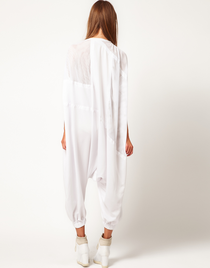 fafae0d0af Lyst - ASOS Oversized Jumpsuit in White