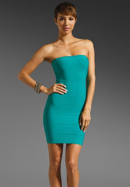 Bcbgmaxazria Strapless Mini Bandage Dress in Green (sea green) - Lyst
