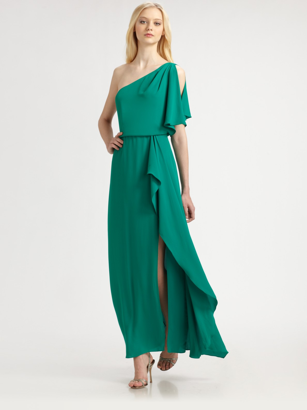Lyst - Bcbgmaxazria Kendal Asymmetrical Gown in Green
