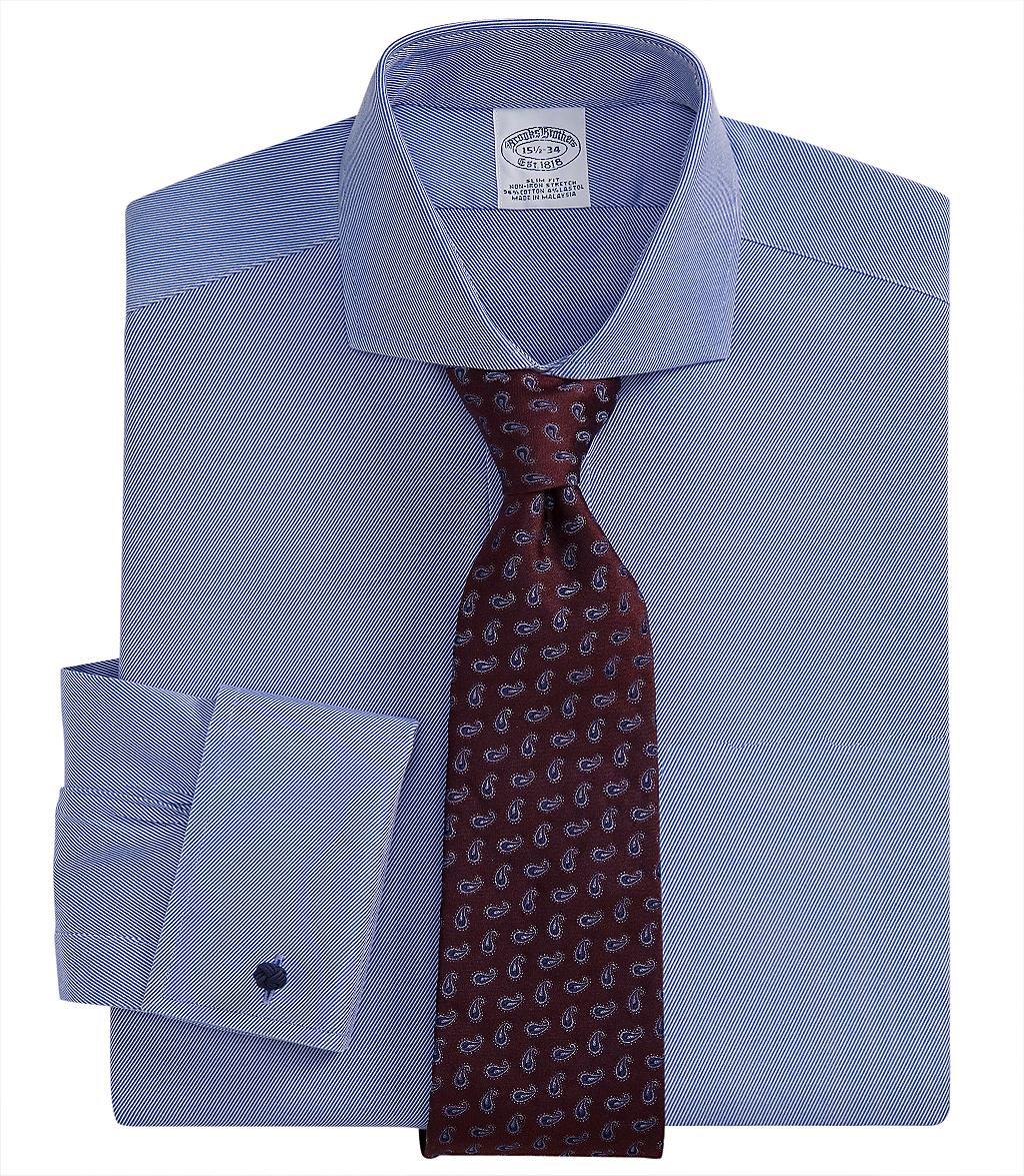 Brooks brothers noniron slim fit twill dress french cuff for French cuff slim fit dress shirt