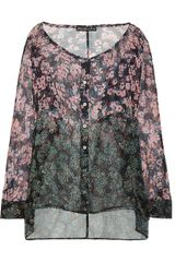 Elizabeth And James Wildflower Codie Printed Silk Chiffon Shirt - Lyst