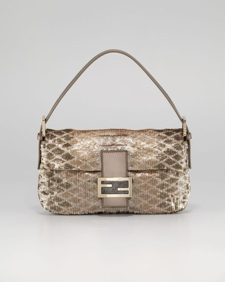 Fendi Pythonpattern Sequin Baguette in Gold (silver) - Lyst