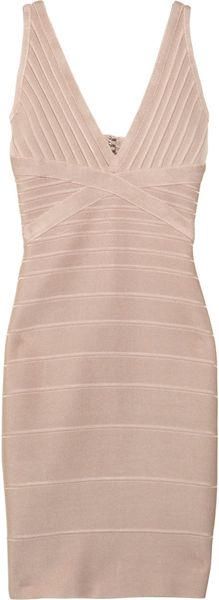 Hervé Léger V-Neck Bandage Dress - Lyst