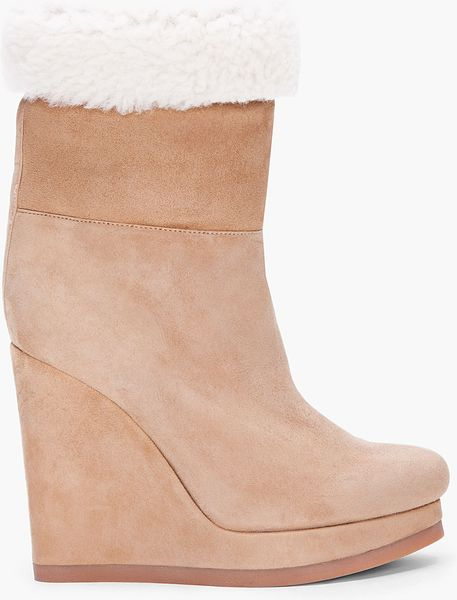 jil sander taupe shearling wedge boots in beige taupe lyst