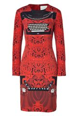Mary Katrantzou Red and Black Typewriter Print Silk Dress in Red - Lyst