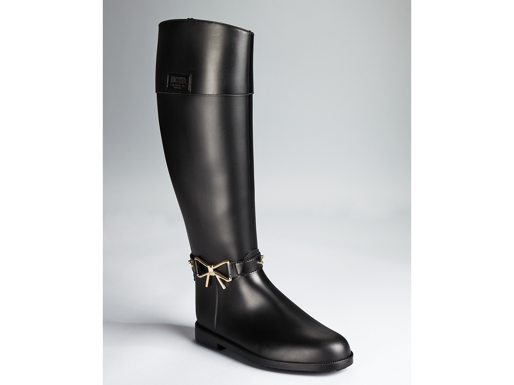 Boutique moschino Rain Boots Bow Detail in Black | Lyst