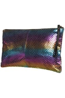 Topshop Rainbow Snake Zip Top Clutch - Lyst