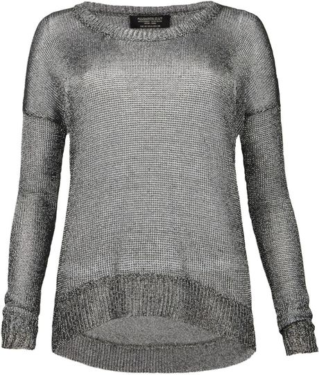 Allsaints Gloss Tailcoat Jumper in Silver (gunmetal) - Lyst
