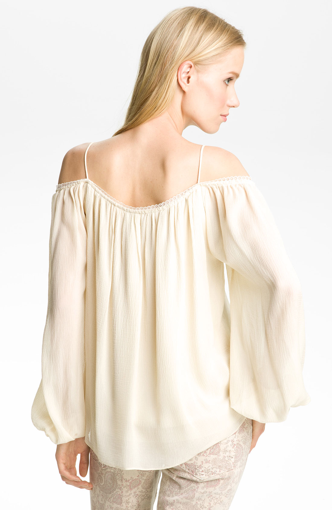 Haute Hippie Off Shoulder Peasant Blouse In White (ivory