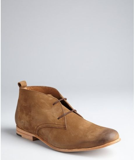 jd fisk light brown brushed leather pete desert boots in