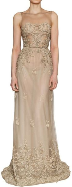 Luisa Beccaria Lace On Silk Tulle Long Dress - Lyst