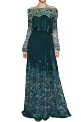 Luisa Beccaria Swarovski On Printed Silk Chiffon Dress - Lyst