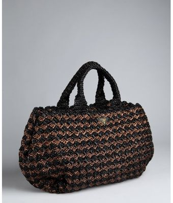 Prada Black and Brown Woven Rafia Tote - Lyst