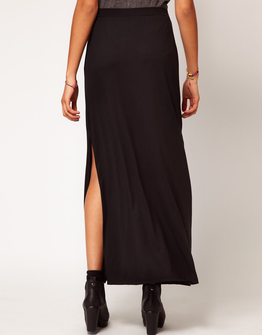 river island black side split maxi skirt in black lyst