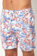 River Island Blue Hawaiian Print Swimshorts - Lyst
