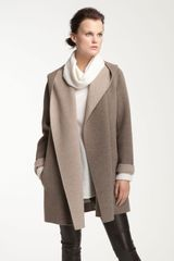 Vince Two Tone Draped Coat - Lyst