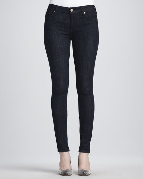 7 For All Mankind Illusion Rinse Skinny Jeans in Black (rinse) - Lyst