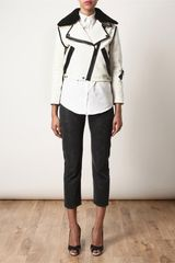 Acne Rita Leather and Shearling Jacket in Beige (black white) - Lyst