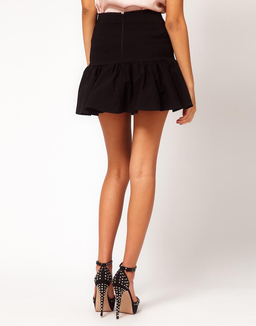 Asos Mini Skirt with Trumpet Hem in Black | Lyst