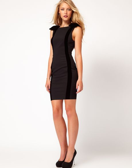 Asos Petite Exclusive Pencil Dress With Velvet Bows In