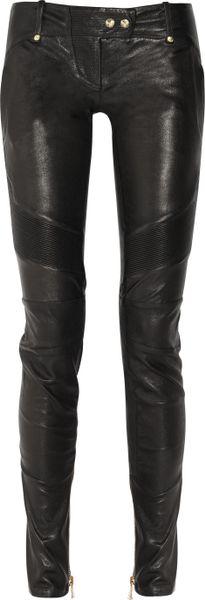 Balmain Skinny Leather Pants in Black