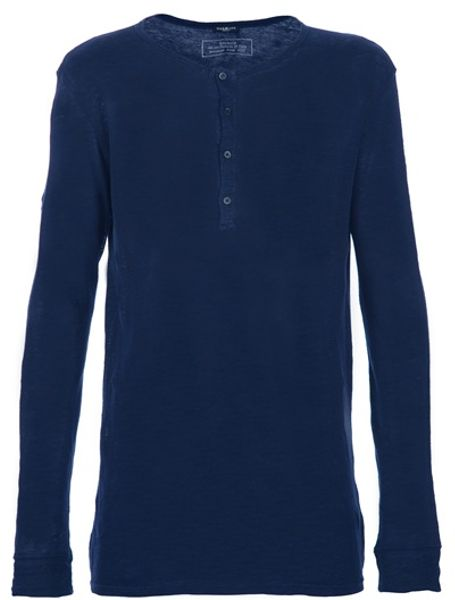Balmain Grandad Top in Blue for Men - Lyst
