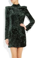 Balmain Devoré Velvet Mini Dress in Animal (green) - Lyst
